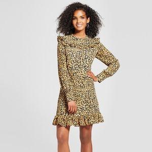 NWT who what wear ruffle cheetah dress size L